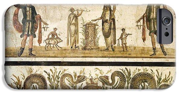 Sacrificial iPhone Cases - Pig Sacrifice, Roman Fresco iPhone Case by Sheila Terry