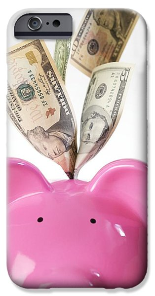 Piggy Bank And Us Dollars iPhone Case by Tek Image