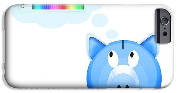 Finance iPhone Cases - Piggy Bank With Graph iPhone Case by Setsiri Silapasuwanchai