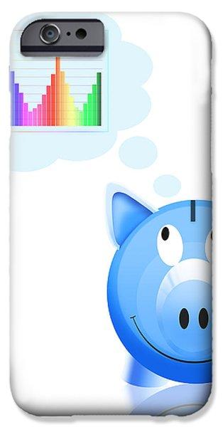 piggy bank with graph iPhone Case by Setsiri Silapasuwanchai