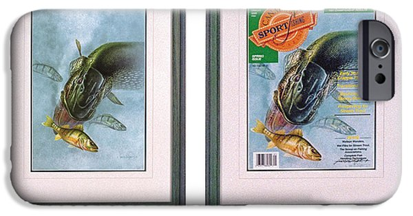 Cover Art iPhone Cases - Pike Fishing original and Magazine iPhone Case by JQ Licensing