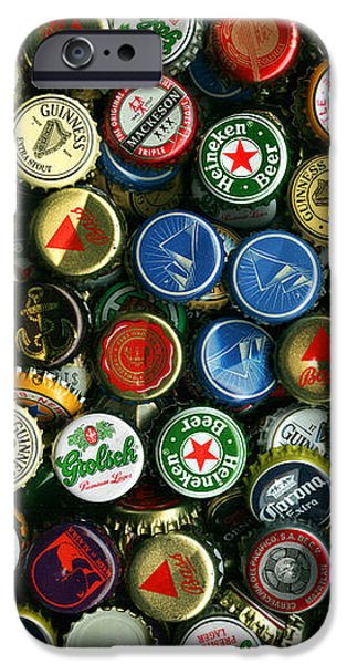 Pile of Beer Bottle Caps . 8 to 12 Proportion iPhone Case by Wingsdomain Art and Photography