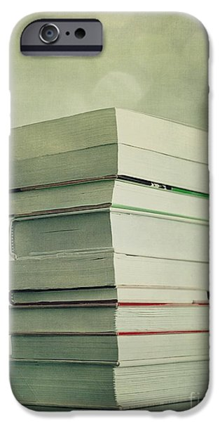 Still iPhone Cases - Piled Reading Matter iPhone Case by Priska Wettstein