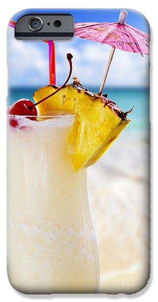 Straw iPhone Cases - Pina colada cocktail on the beach iPhone Case by Elena Elisseeva