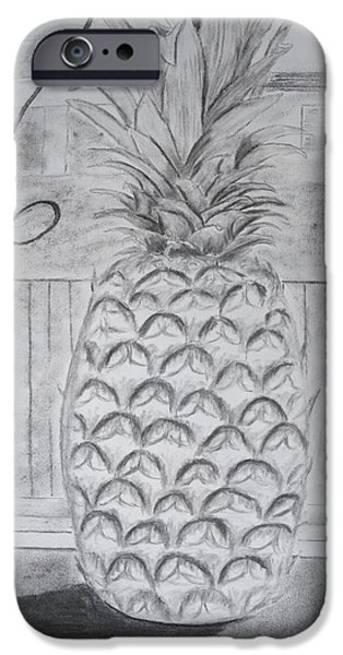 Graphite Drawing Pastels iPhone Cases - Pineapple in window iPhone Case by Jose Valeriano