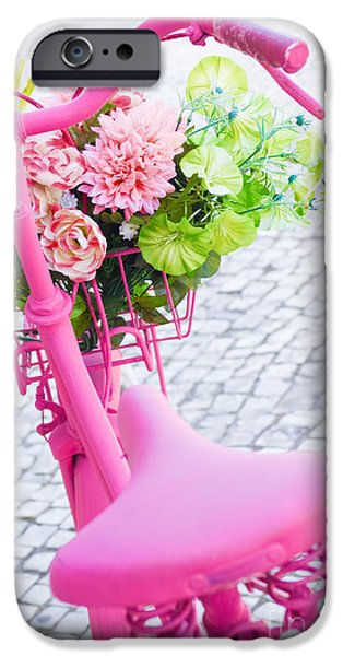 Garden Scene iPhone Cases - Pink Bicycle iPhone Case by Carlos Caetano