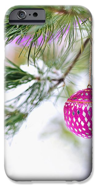 Wintertime iPhone Cases - Pink Christmas ornament on snowy pine tree branch  iPhone Case by Marianne Campolongo