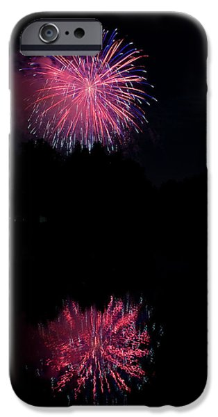4th July Photographs iPhone Cases - Pink Fireworks iPhone Case by James BO  Insogna