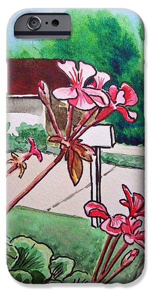 Pink Geranium Sketchbook Project Down My Street iPhone Case by Irina Sztukowski