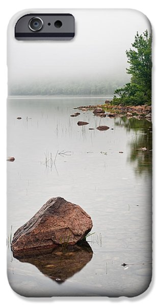 Pink Granite In Jordan Pond at Acadia iPhone Case by Steve Gadomski