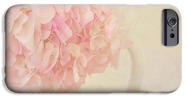 Botanical iPhone Cases - Pink Hydrangea Flowers in White Vase iPhone Case by Kim Hojnacki
