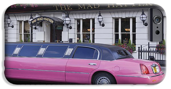 Mad Hatter iPhone Cases - Pink Limo Outside a Pub iPhone Case by Jeremy Woodhouse