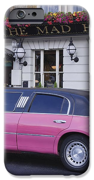 Pink Limo Outside a Pub iPhone Case by Jeremy Woodhouse