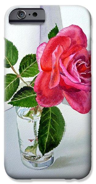 Green Roses iPhone Cases - Pink Rose iPhone Case by Irina Sztukowski