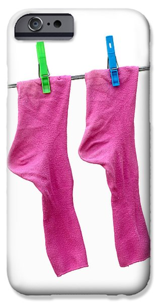 Underwear iPhone Cases - Pink Socks iPhone Case by Frank Tschakert