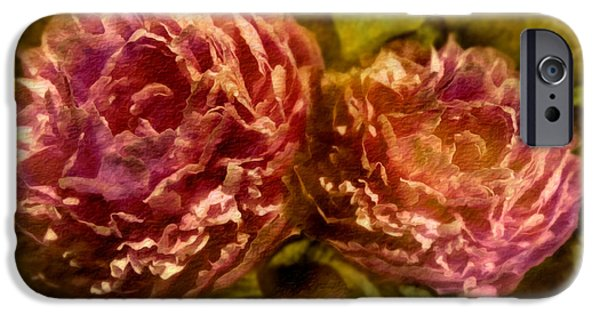 Flora Mixed Media iPhone Cases - Piony iPhone Case by Svetlana Sewell