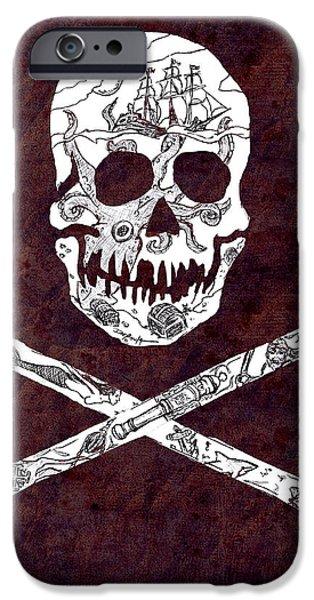 Pirate Ship Mixed Media iPhone Cases - Pirate Mythology iPhone Case by William Depaula