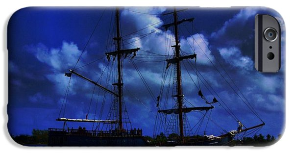 Pirate Ships iPhone Cases - Pirates Blue Sea iPhone Case by Patrick Witz