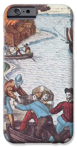 Pirates Burn Havana, 1555 iPhone Case by Photo Researchers