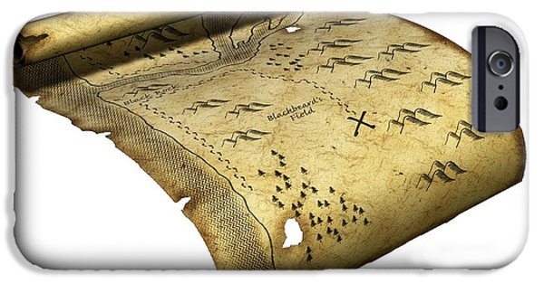 Pirate Drawing iPhone Cases - Pirates Treasure Map, Artwork iPhone Case by Friedrich Saurer