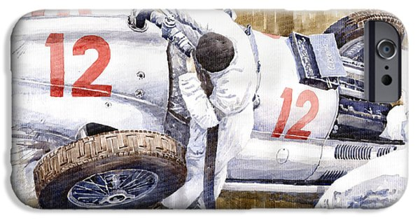 Racing iPhone Cases - Pit Stop German GP 1939 Mercedes Benz W154 Rudolf Caracciola iPhone Case by Yuriy  Shevchuk