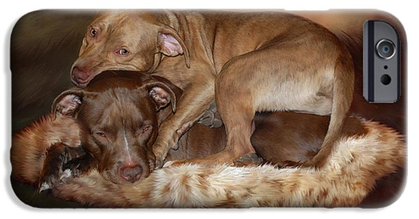 Bulls Mixed Media iPhone Cases - Pitbulls - The Softer Side iPhone Case by Carol Cavalaris