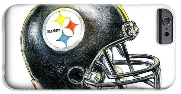 Curtains iPhone Cases - Pittsburgh Steelers Helmet iPhone Case by James Sayer