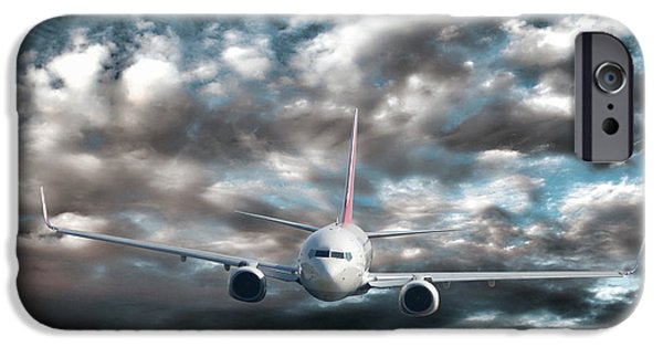 Airliner iPhone Cases - Plane in Storm iPhone Case by Olivier Le Queinec
