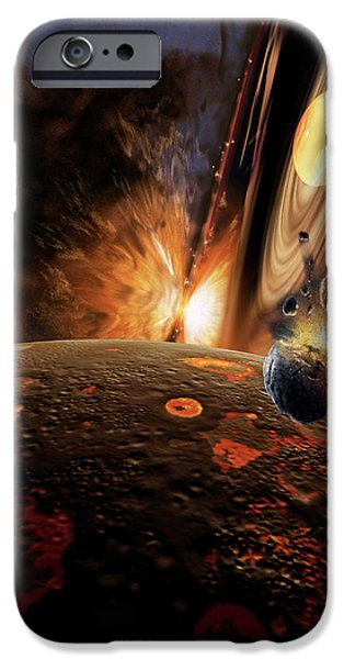 Planet Paintings iPhone Cases - Planet Formation iPhone Case by Don Dixon