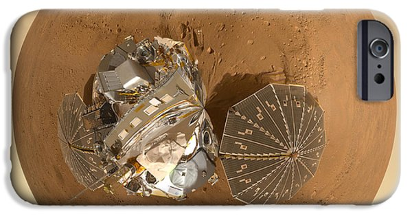 World System iPhone Cases - Planet Mars via Phoenix Mars Lander iPhone Case by Nikki Marie Smith