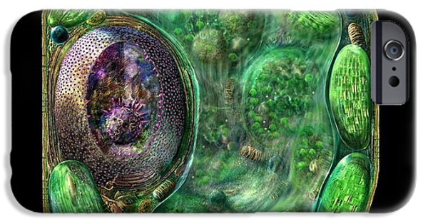 Biological Digital Art iPhone Cases - Plant Cell iPhone Case by Russell Kightley