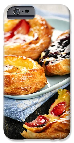 Biting iPhone Cases - Plate of fruit danishes iPhone Case by Elena Elisseeva