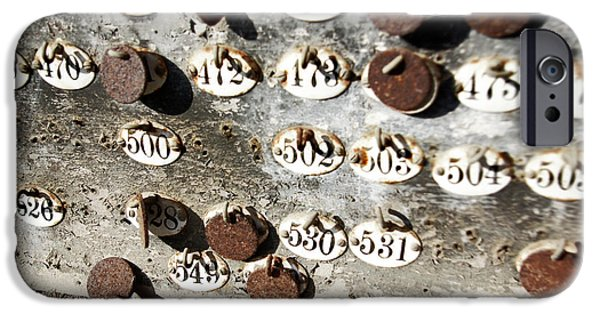 Rust Photographs iPhone Cases - Plates with Numbers iPhone Case by Carlos Caetano