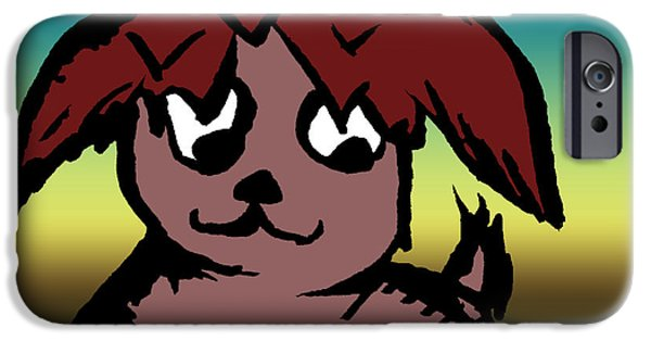 Puppy Digital Art iPhone Cases - Playing Fetch iPhone Case by Jera Sky