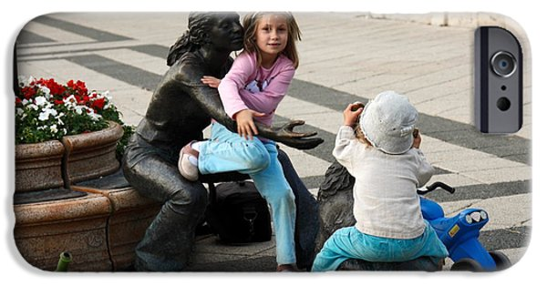 Missing Child iPhone Cases - Playing on Sculpture iPhone Case by Sally Weigand