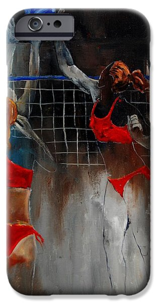Volley iPhone Cases - Playing Volley iPhone Case by Pol Ledent