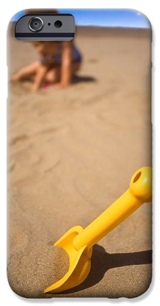 Child iPhone Cases - Playtime At The Beach iPhone Case by Meirion Matthias