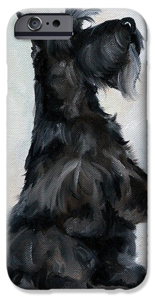 Scottish Terrier Art iPhone Cases - Please iPhone Case by Mary Sparrow