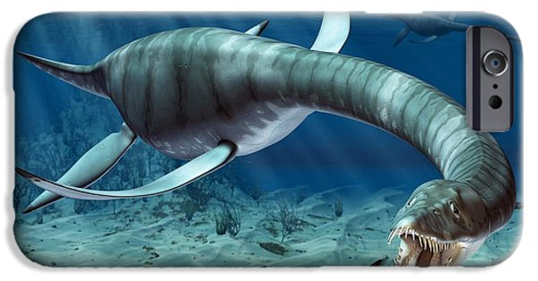 Fauna Drawings iPhone Cases - Plesiosaur Attack iPhone Case by Roger Harris and Photo Researchers