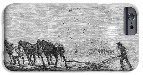 Work Tool iPhone Cases - Ploughing, 1846 iPhone Case by Granger