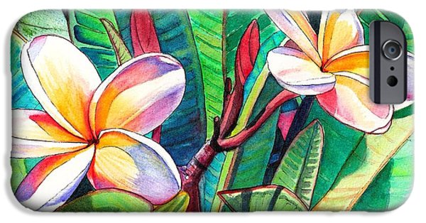 Yellow Flowers iPhone Cases - Plumeria Garden iPhone Case by Marionette Taboniar