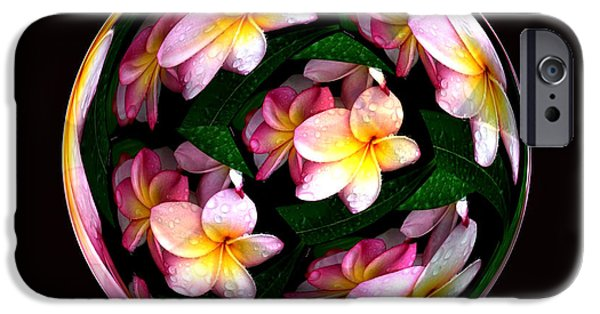 Abstract Digital Photographs iPhone Cases - Plumeria Tile Ball iPhone Case by Cheryl Young