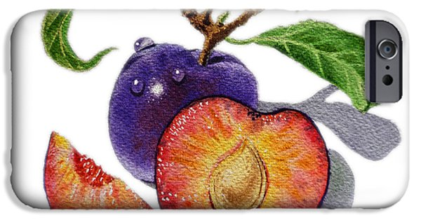 Free Paintings iPhone Cases - ArtZ Vitamins The Heart of A Plums iPhone Case by Irina Sztukowski