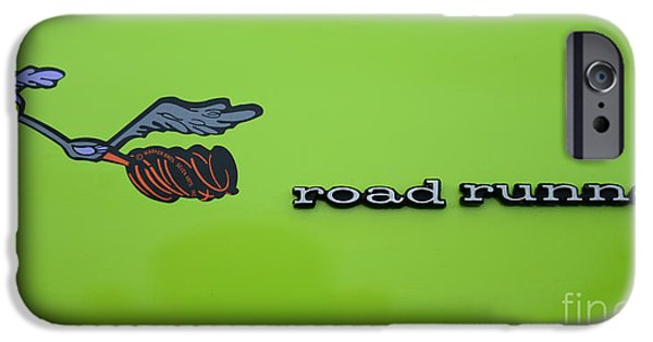 Road Runner iPhone Cases - Plymoouth Road Runner in Lime Green iPhone Case by Paul Ward