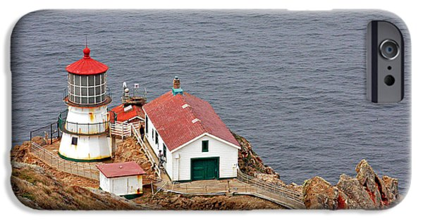 Lightstations iPhone Cases - Point Reyes Lighthouse CA iPhone Case by Christine Till