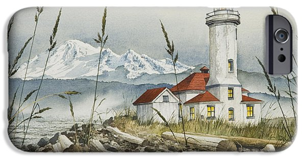 Lighthouse iPhone Cases - Point Wilson Lighthouse iPhone Case by James Williamson