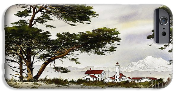 Lighthouse Paintings iPhone Cases - Point Wilson Lighthouse Shore iPhone Case by James Williamson
