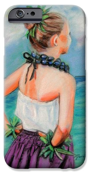 Original Pastels iPhone Cases - Poipu Hula iPhone Case by Marionette Taboniar