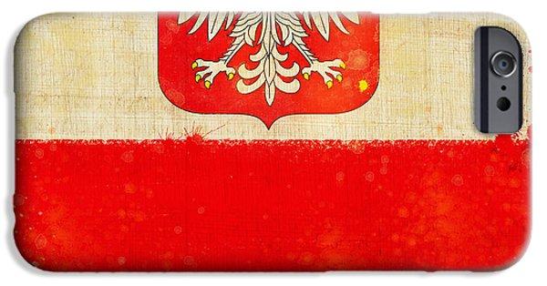 Sign Pastels iPhone Cases - Poland flag iPhone Case by Setsiri Silapasuwanchai