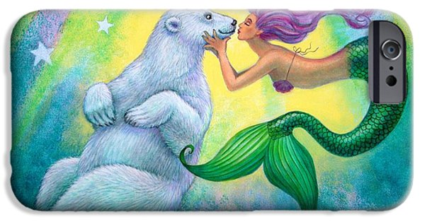 Extinct And Mythical iPhone Cases - Polar Bear Kiss iPhone Case by Sue Halstenberg
